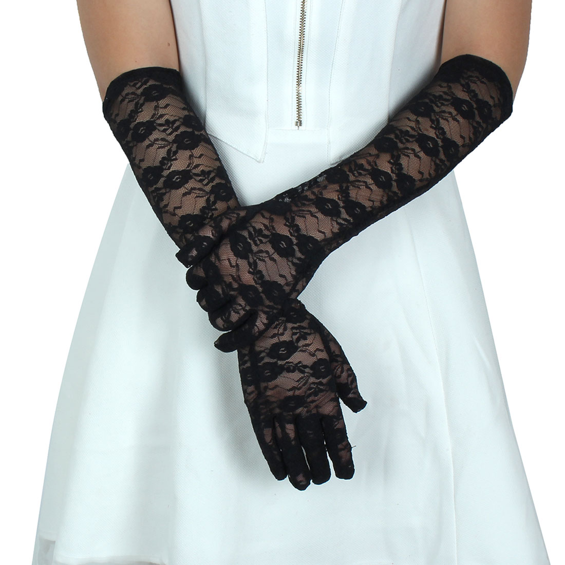Adult Lady Lace Full Finger Mittens Outdoor Sun Resistant Long Gloves Black Pair
