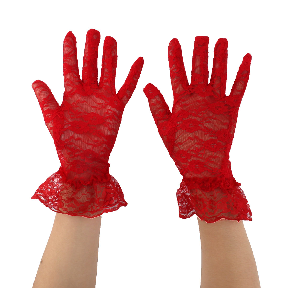 Women Driving Spring Summer Full Finger Sun Resistant Gloves Mittens Red Pair