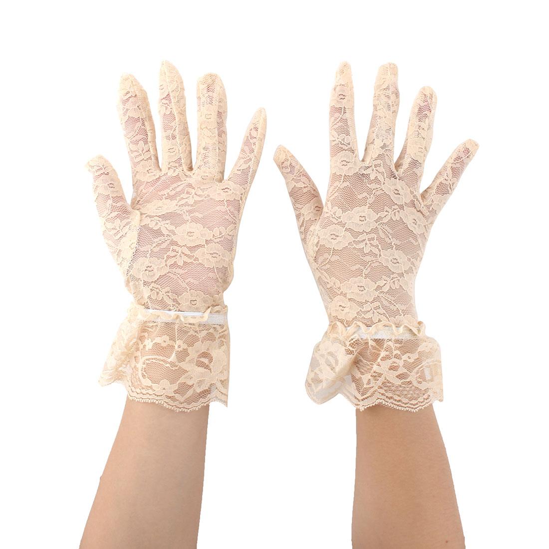 Women Driving Spring Summer Full Finger Sun Resistant Gloves Mittens Beige Pair