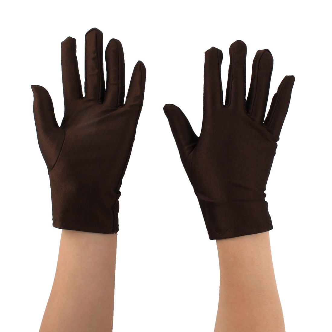 Lady Outdoor Cycling Riding Sun Resistant Gloves Mittens Chocolate Color Pair