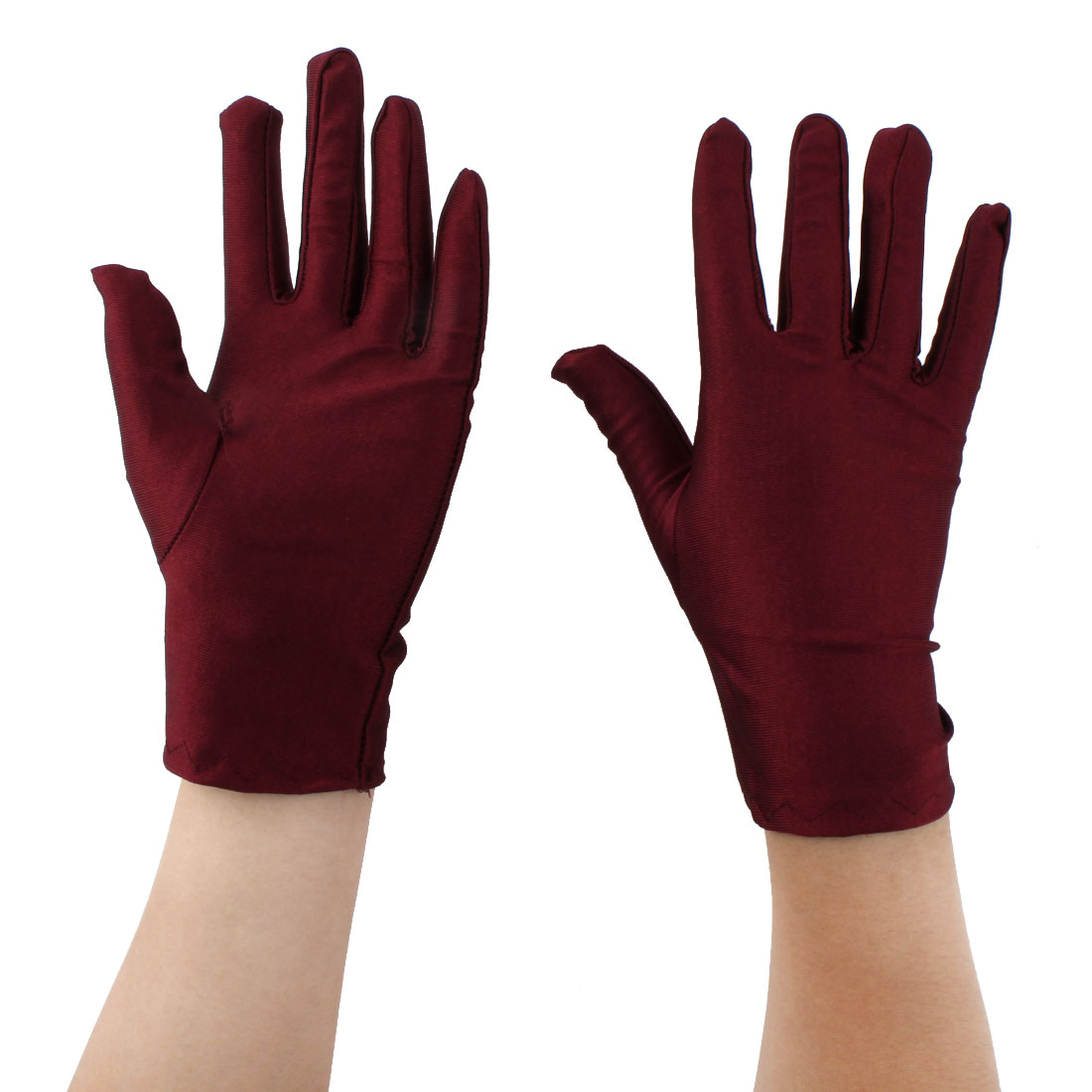 Lady Outdoor Cycling Riding Biking Sun Resistant Gloves Mittens Burgundy Pair