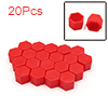 20 Pcs 19mm Red Silicone Car Vehicle Wheel Tyre Hub Screw Bolt Nut Cap Covers
