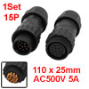 1Set AC500V 5A 20.7mm Dia Thread 15P Male to Female Aviation Connector for Cable
