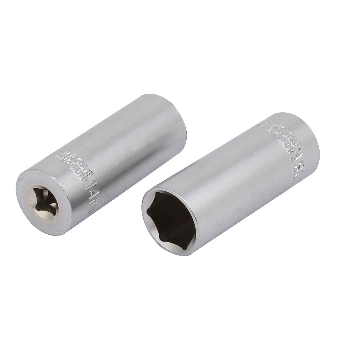 1/4-inch Square Drive 14mm Hex 6 Point Impact Socket Silver Tone 2pcs