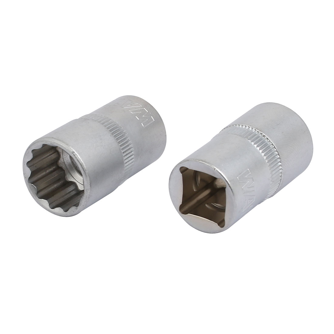 1/2-inch Square Drive 16mm 12-Point Shallow Impact Socket Silver Tone 2pcs