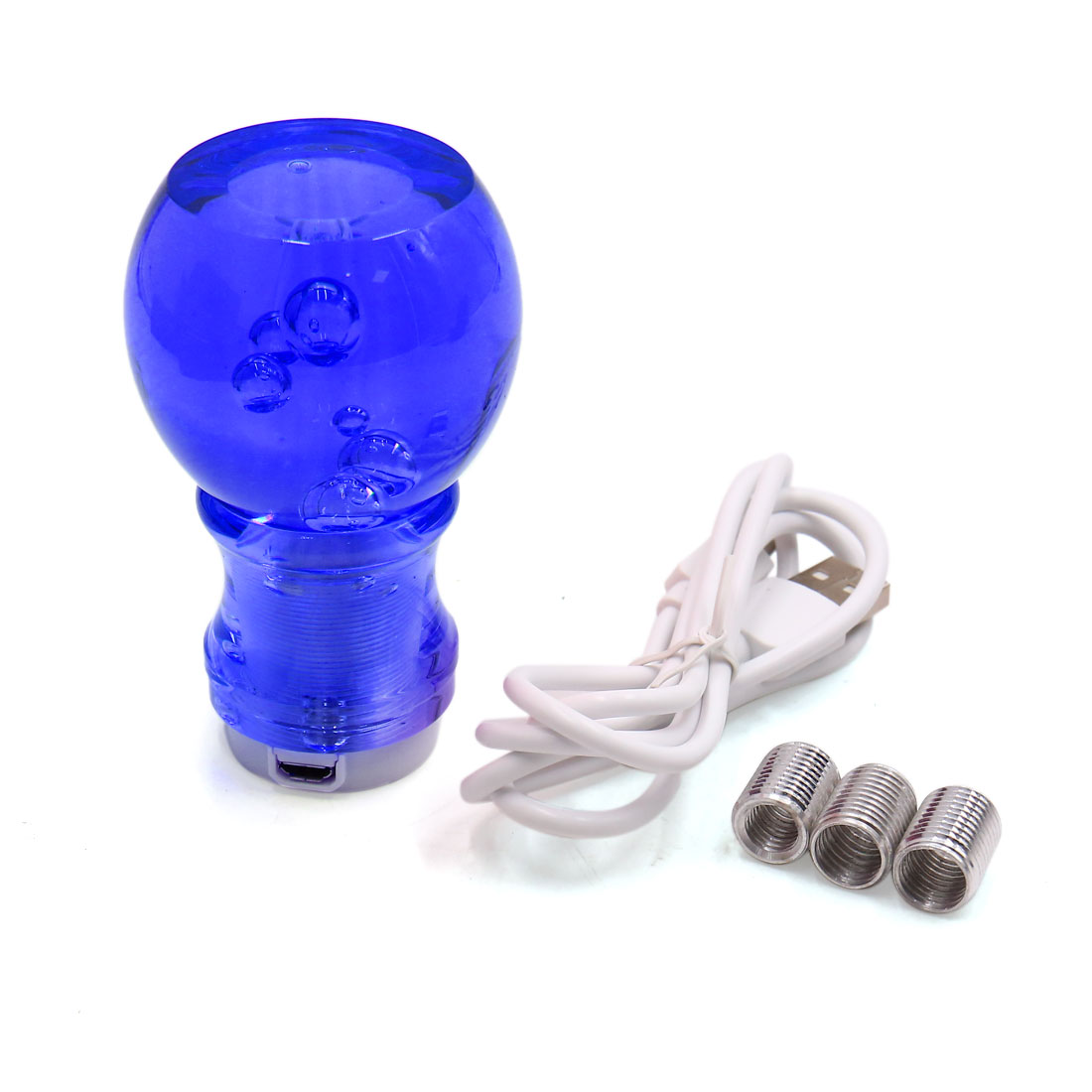 Faux Crystal Bubble Blue LED Light Manual Shift Knob Shifter Gear Lever for Car