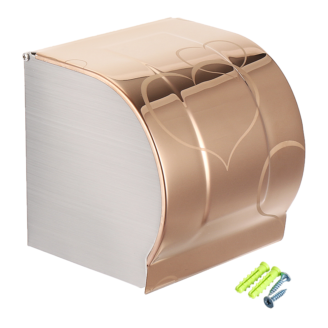 Toilet Paper Holder Stainless Steel Full Covered Wall-Mounted Glossy Rose Gold