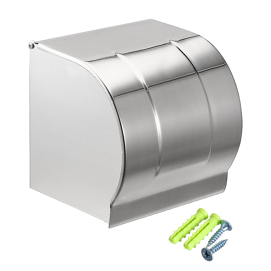 Toilet Paper Holder Stainless Steel Full Covered Wall-Mounted Glossy Sliver Tone