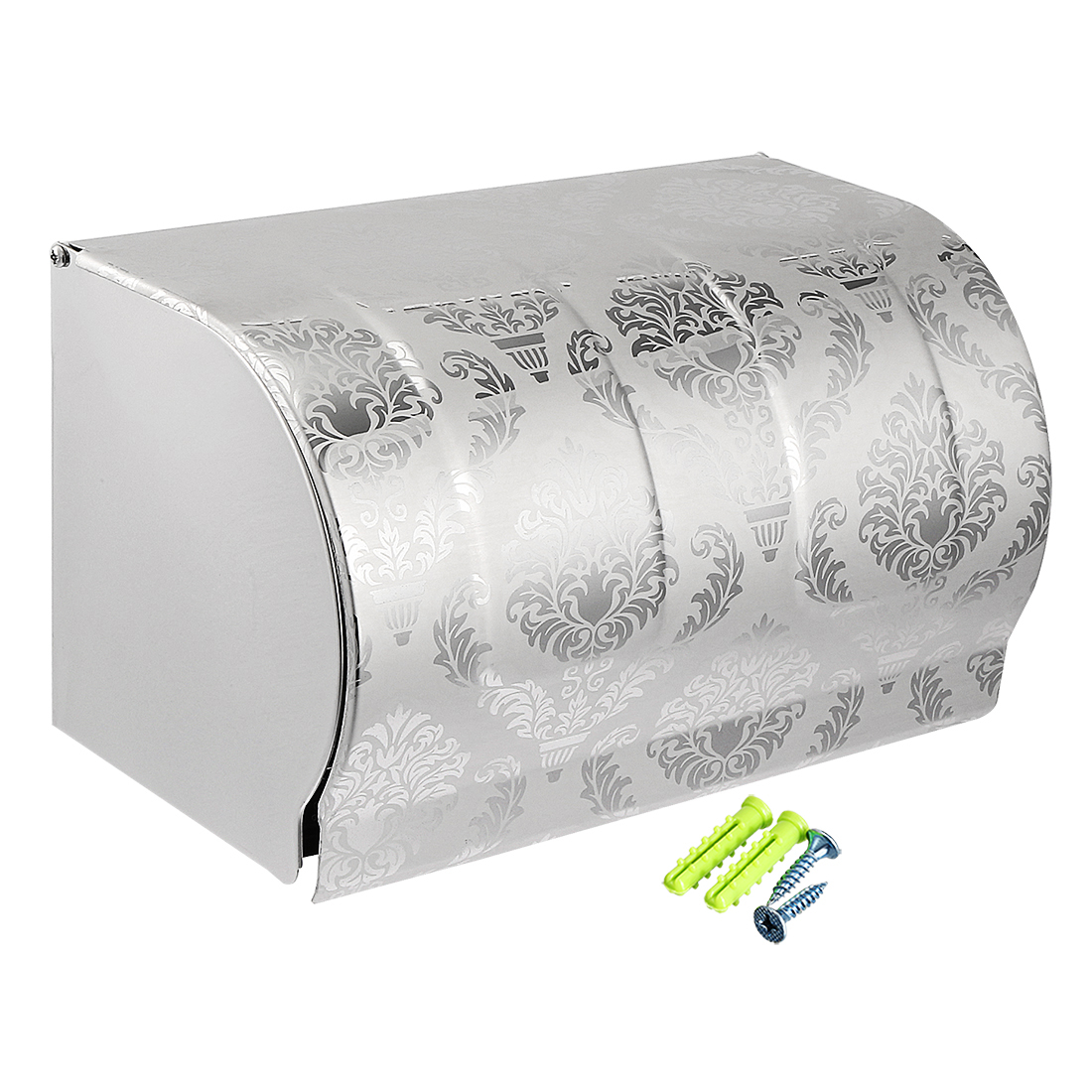 Toilet Paper Roll Holder w Cover Stainless Steel 200mm Wall Mount Glossy Silver Tone