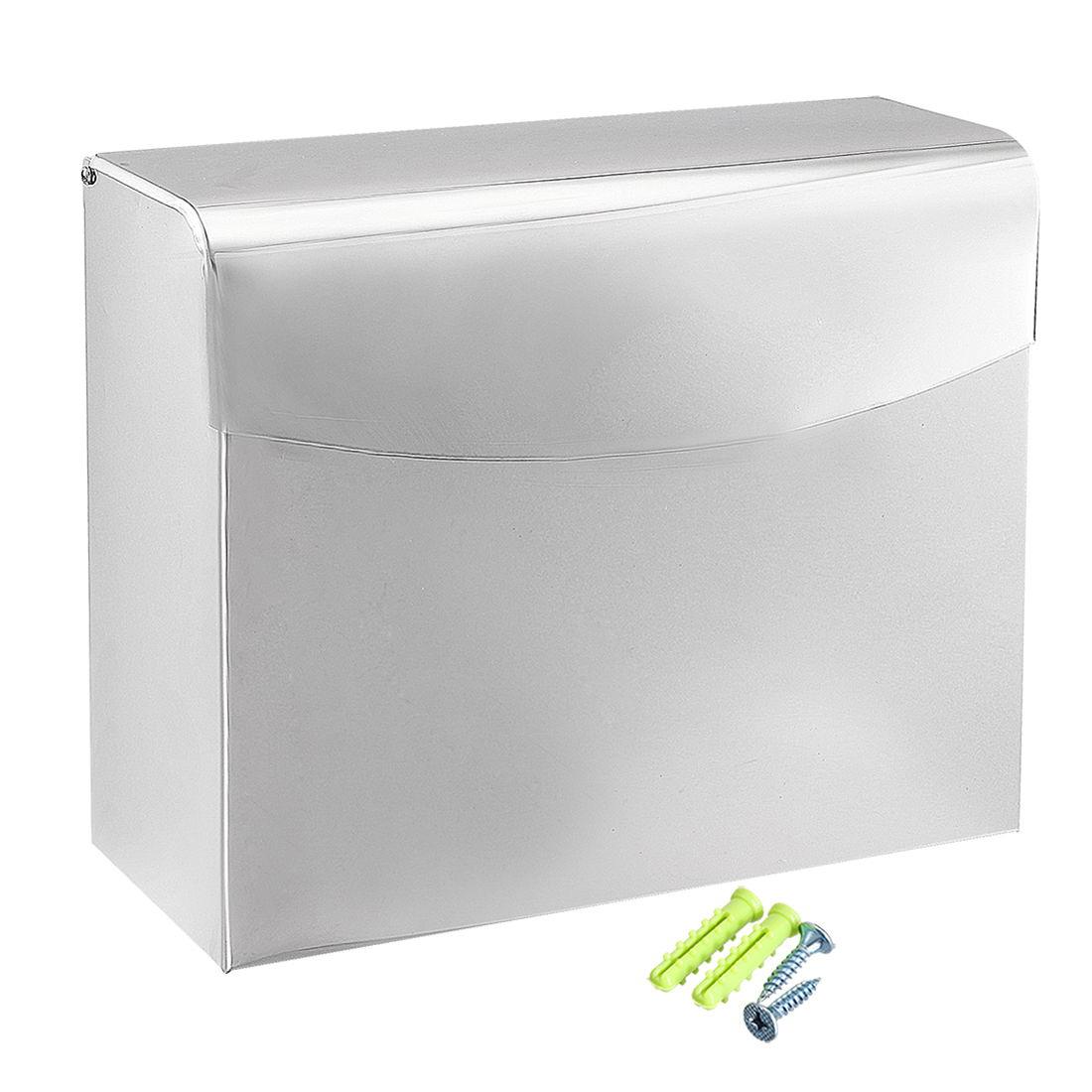 Bathroom Lavatory Toilet Paper Holder w Cover Stainless Steel Glossy Polished Finish K30C