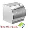 120mmx118mmx125mm Stainless Steel Polished Finish Wall-Mounted Toilet Paper Holder w Cover
