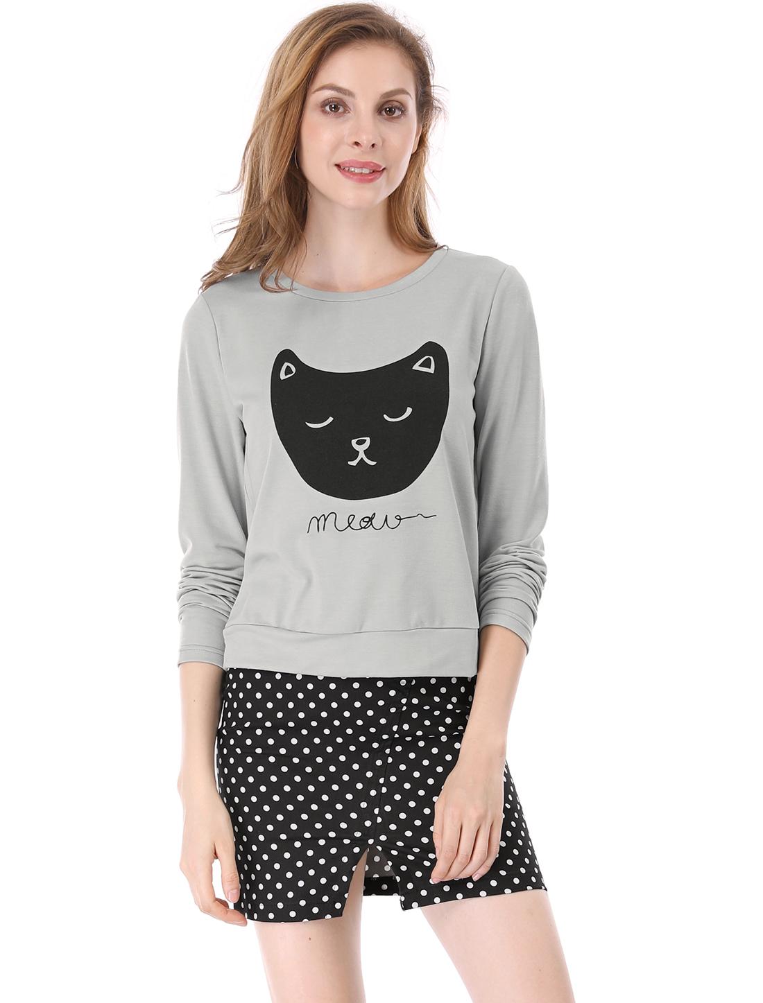 Allegra K Women Cat Prints Round Neck Long Sleeves Top Shirt Gray L