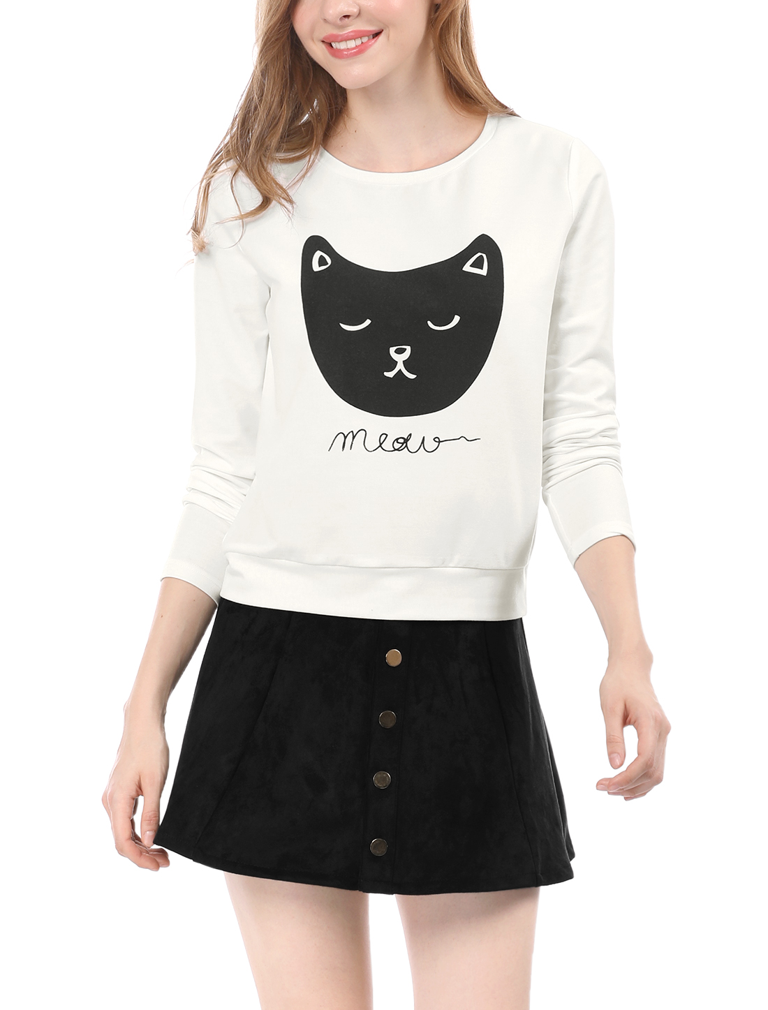 Allegra K Women Cat Prints Round Neck Long Sleeves Top Shirt White S