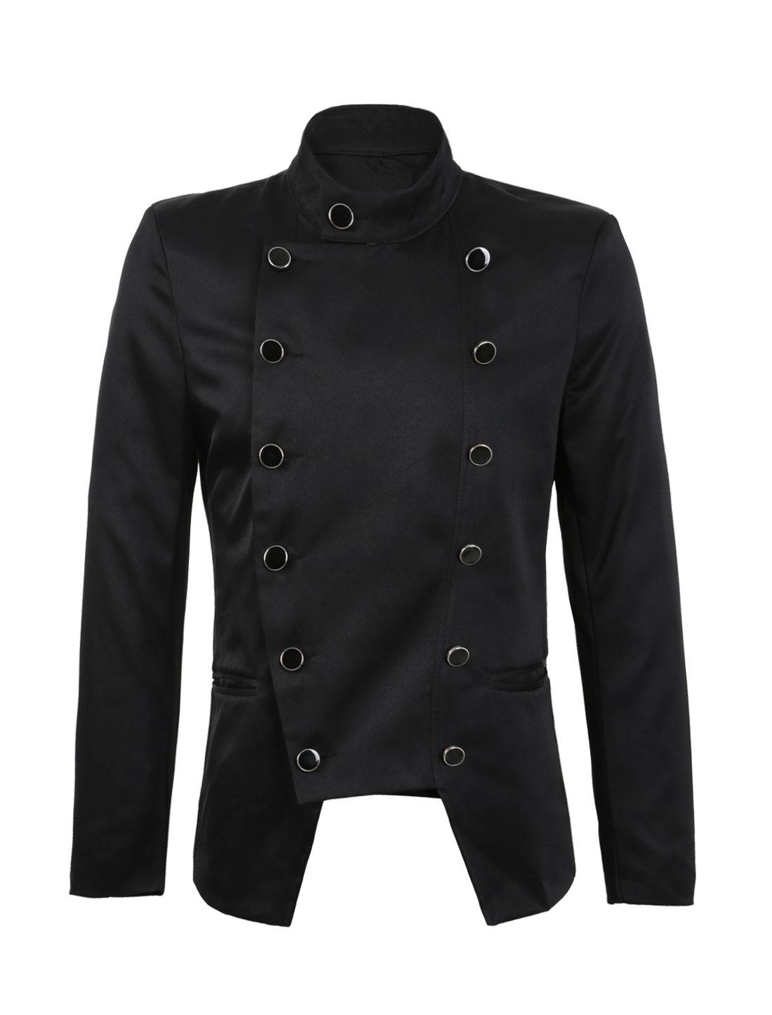 Men Slim Fit Casual Pockets Irregular Double Breasted Suit Jacket Blazer Black L