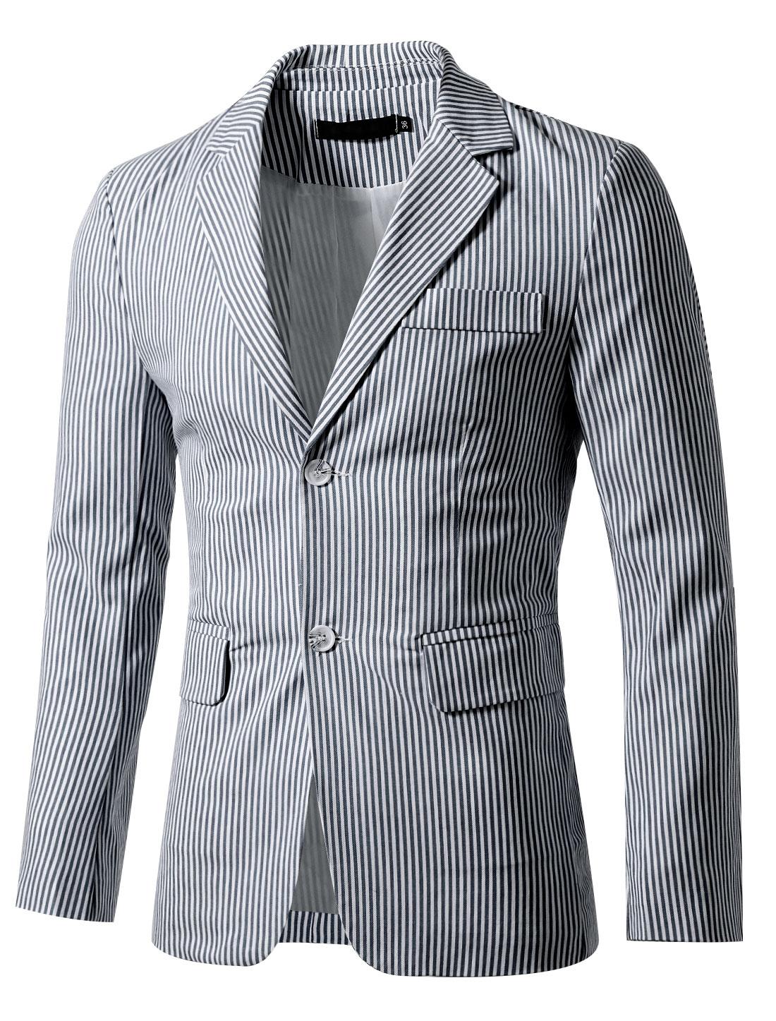 Men Notched Lapel Single Breasted Slim Fit Stripes Blazer Navy White 36