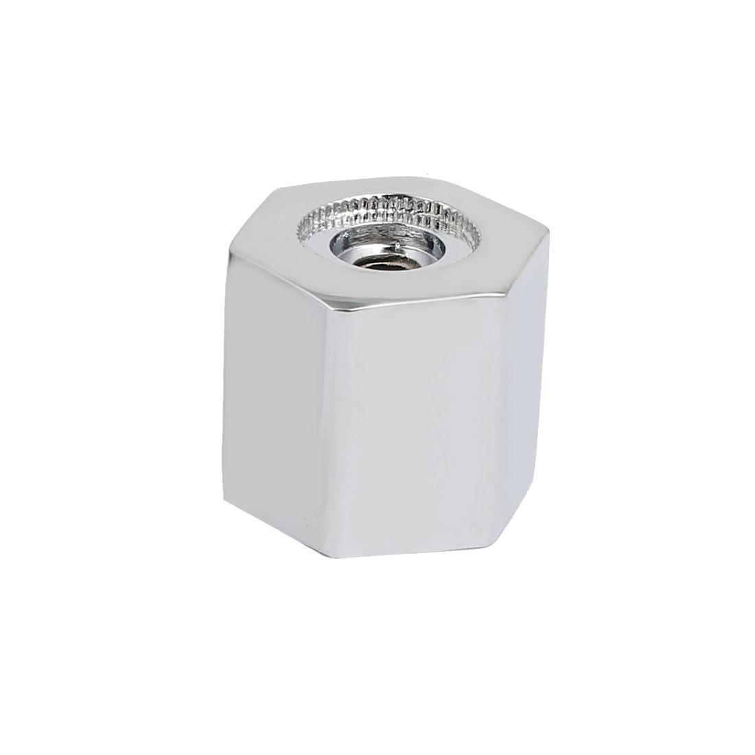 8mm Spline Screw Mount Zinc Alloy Chrome Plated Hexagon Shape Faucet Handle