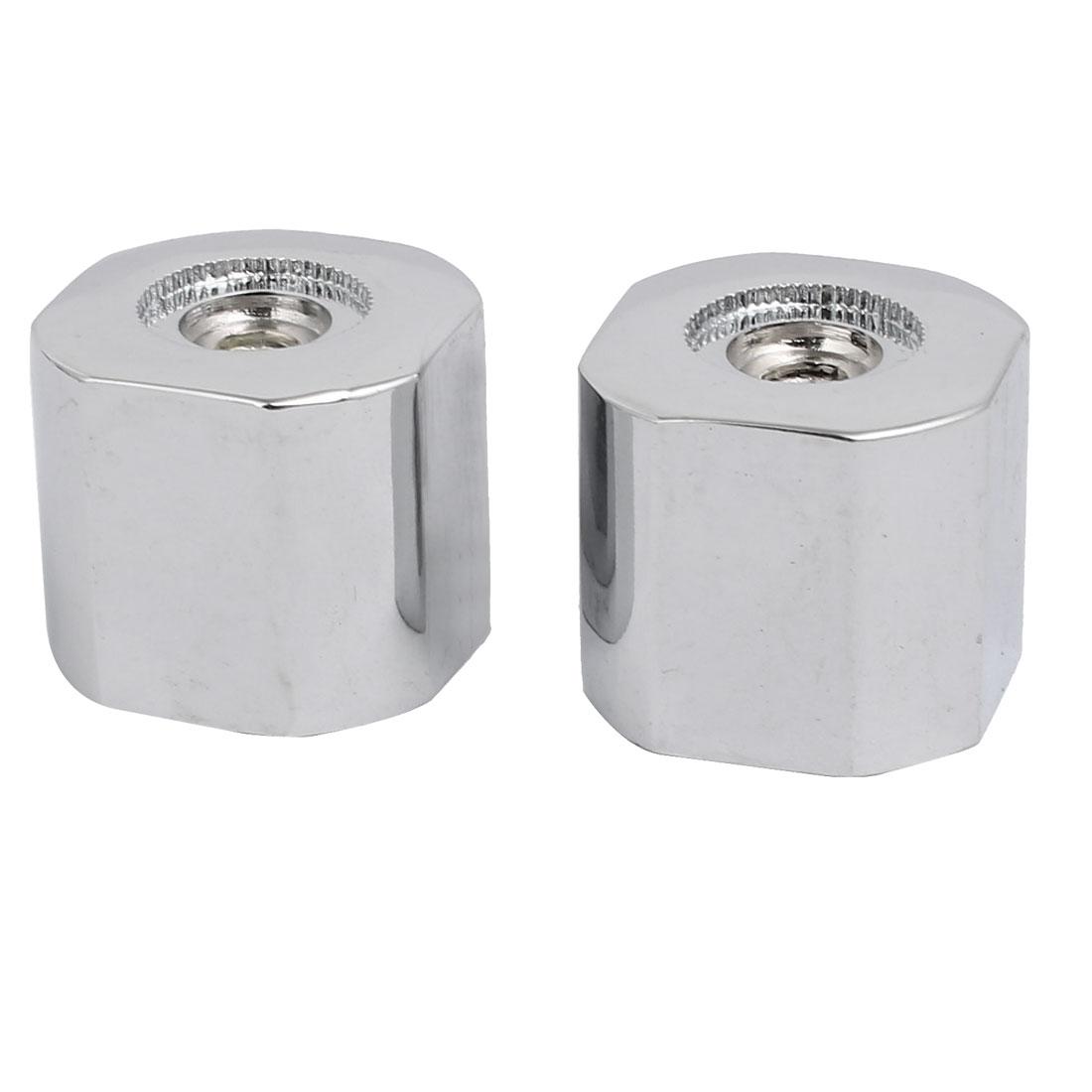2pcs 28mmx25mm Zinc Alloy Faucet Water Tap Handle Grip Silver Tone