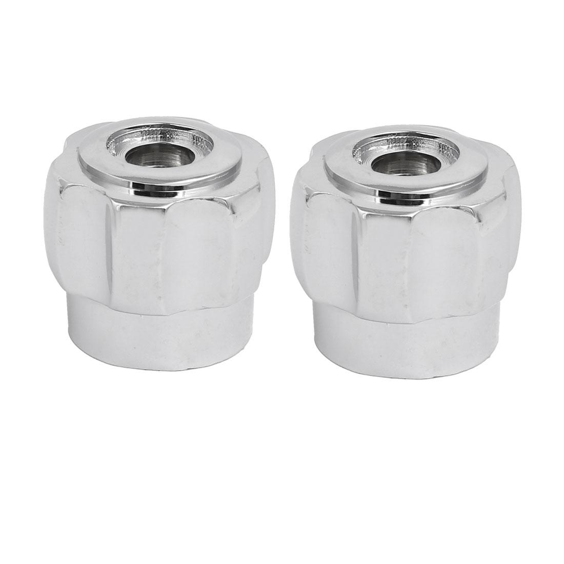 2pcs 35mmx30mm Zinc Alloy Faucet Water Tap Handle Grip Silver Tone