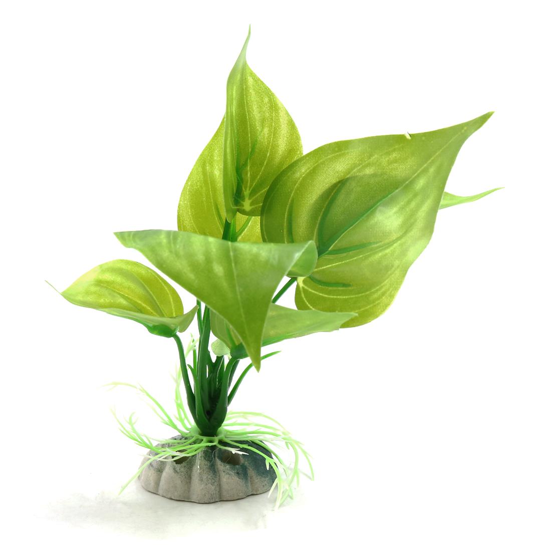 Green Plastic Aquatic Leaves Plant Aquarium Tank Waterscape Decorative Ornaments
