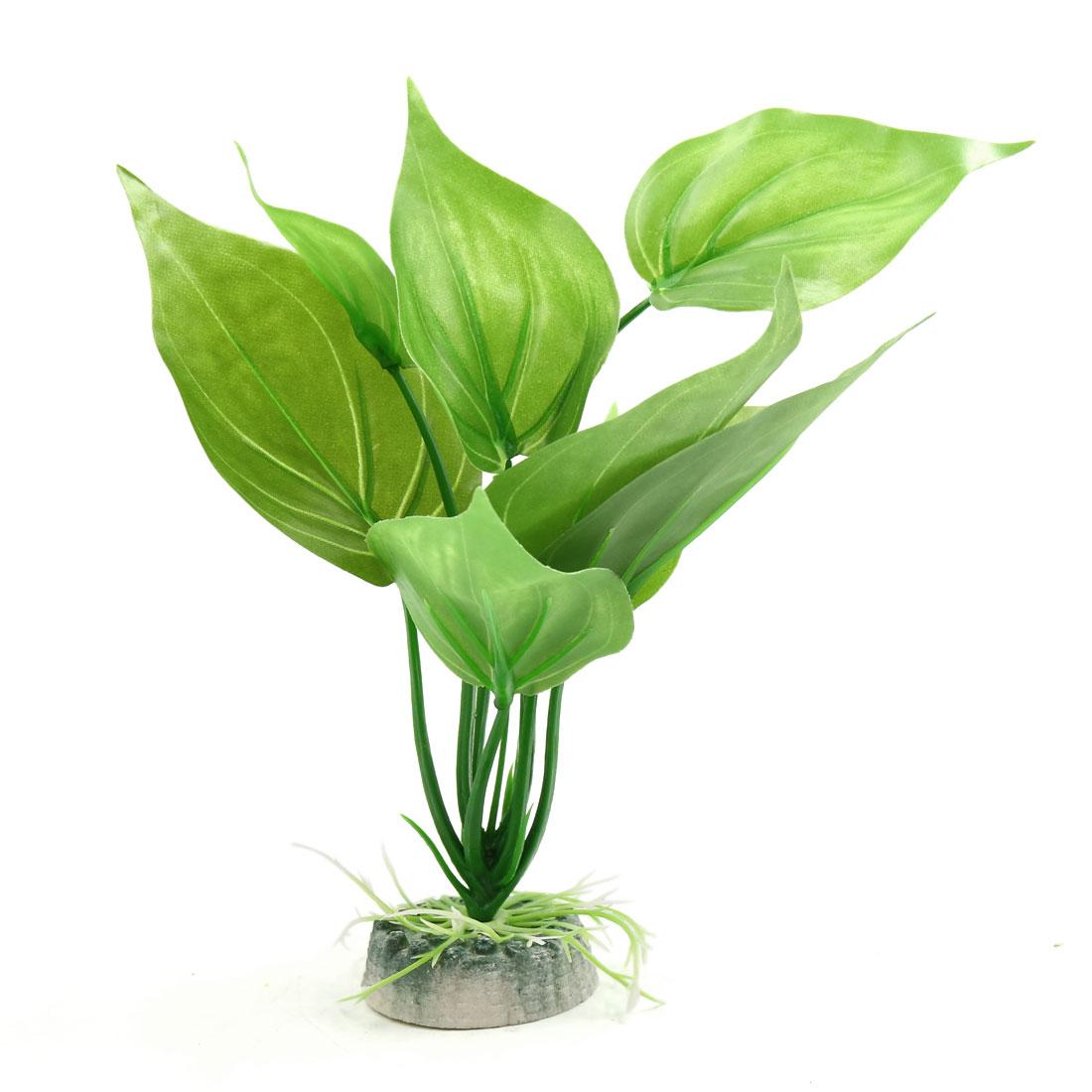 Green Plastic Aquatic Leaves Plant Aquarium Tank Waterscape Decorative Decor