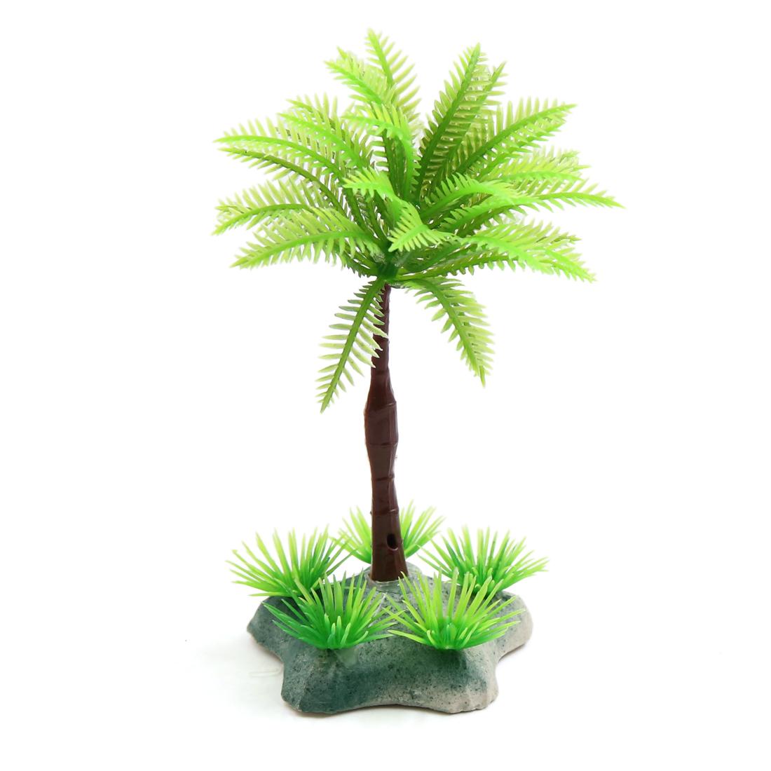 Plastic Ceramic Coconut Tree Aquarium Terrarium Decor for Reptiles