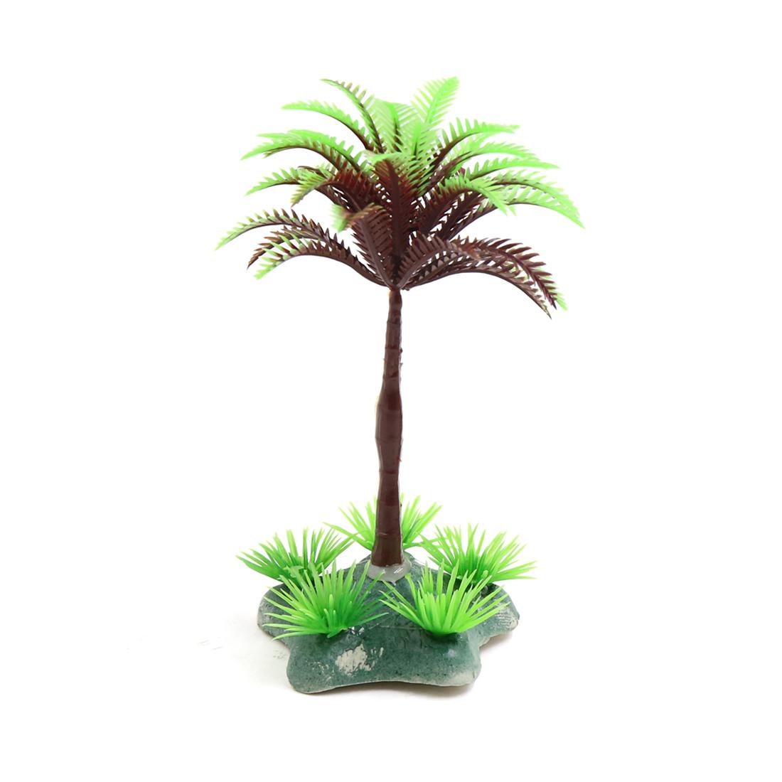 Green Plastic Coconut Tree Aquarium Terrarium Aquascape Decoration for Reptiles