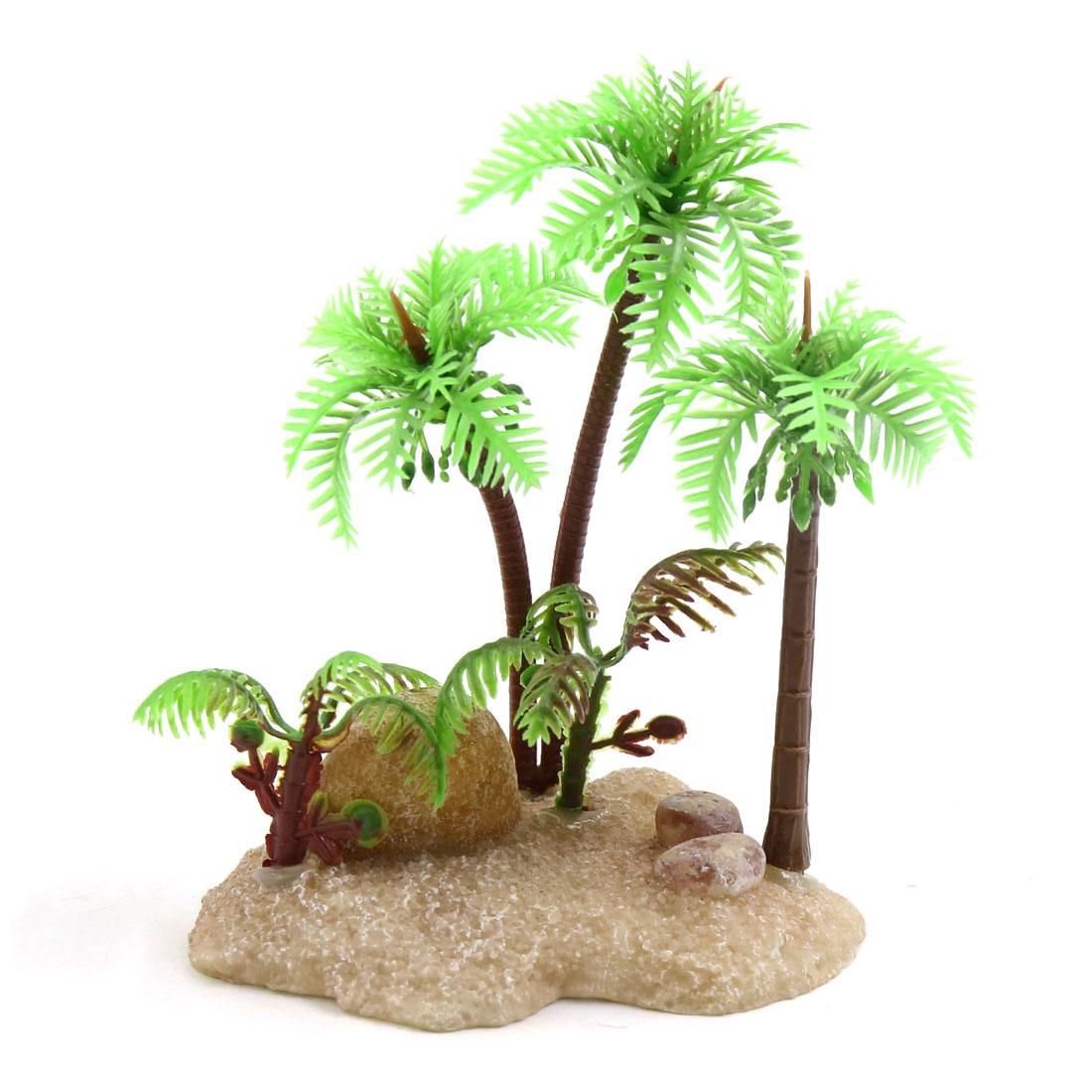 Green Plastic Terrarium Plant Decoration Coconut Tree for Reptiles Amphibians