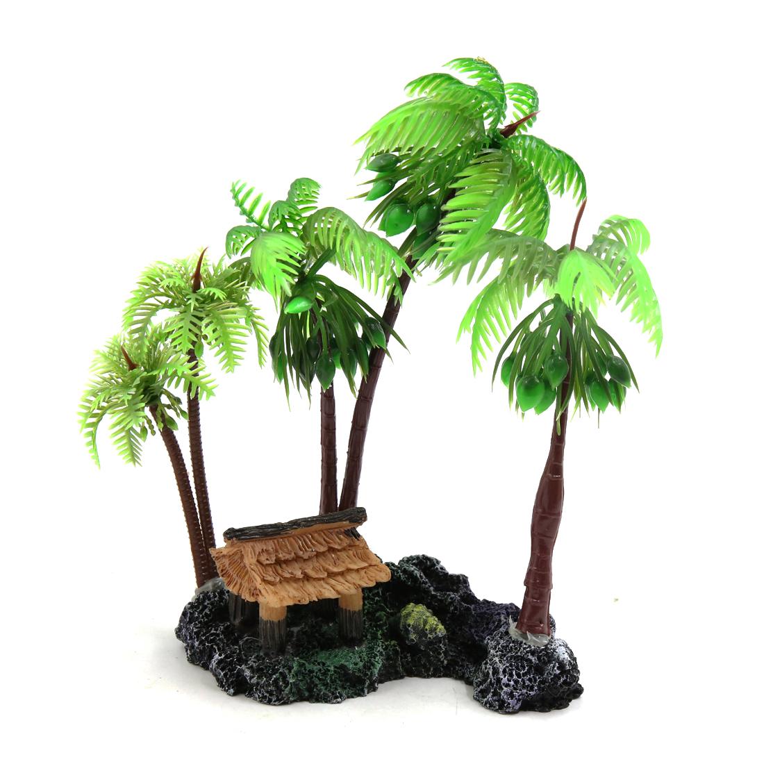 Green Plastic Coconut Tree Plant Aquatic Decor for Reptiles Amphibians