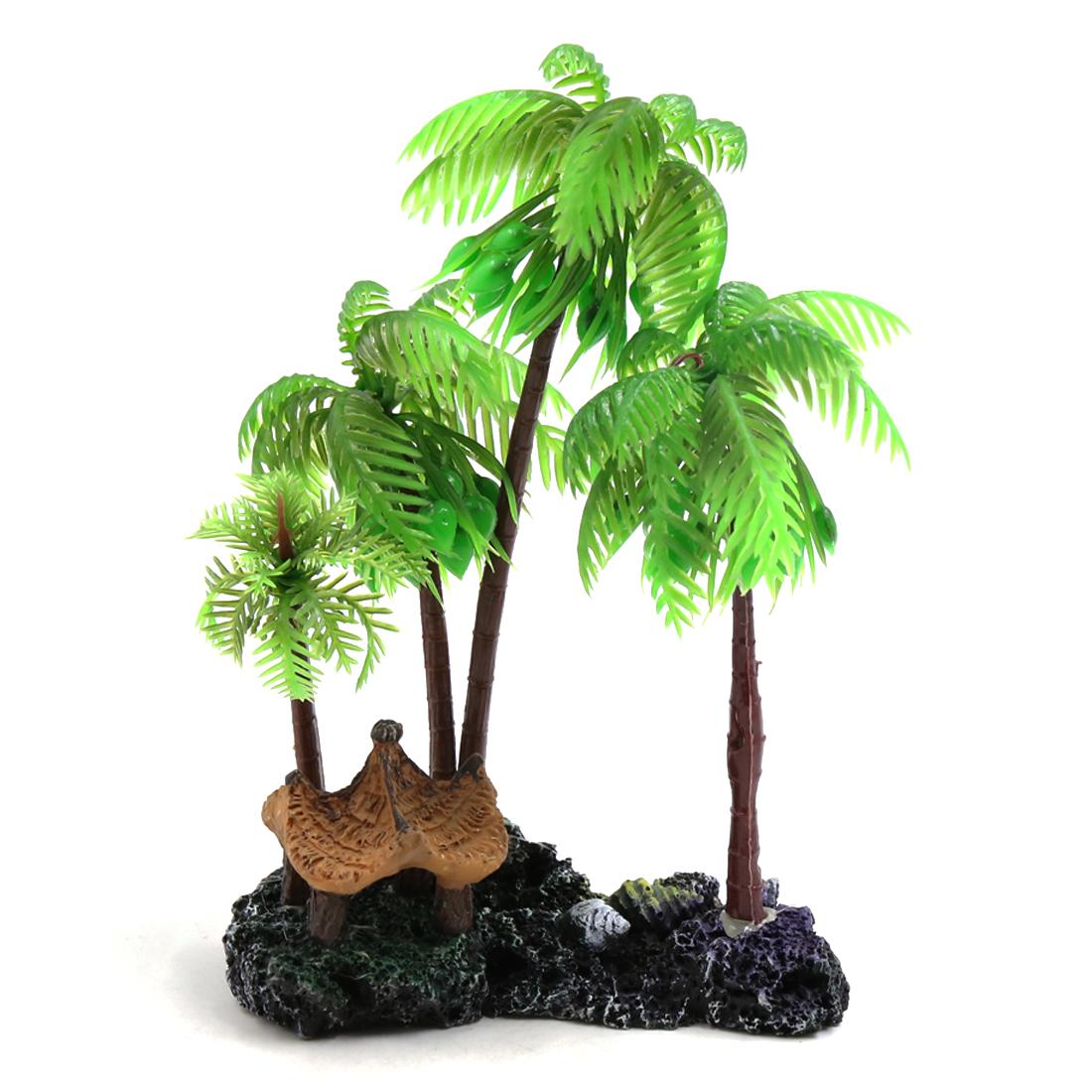 Green Plastic Coconut Tree Plant Decors Ornament for Reptiles Amphibians