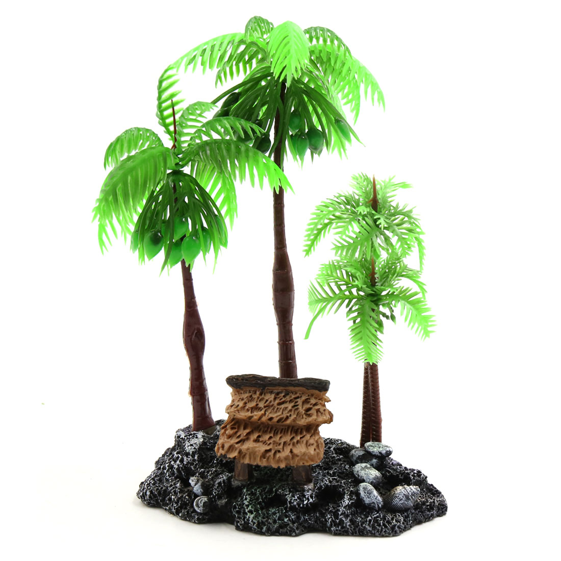 Green Plastic Coconut Tree Plant Decor Ornaments for Reptiles Amphibians