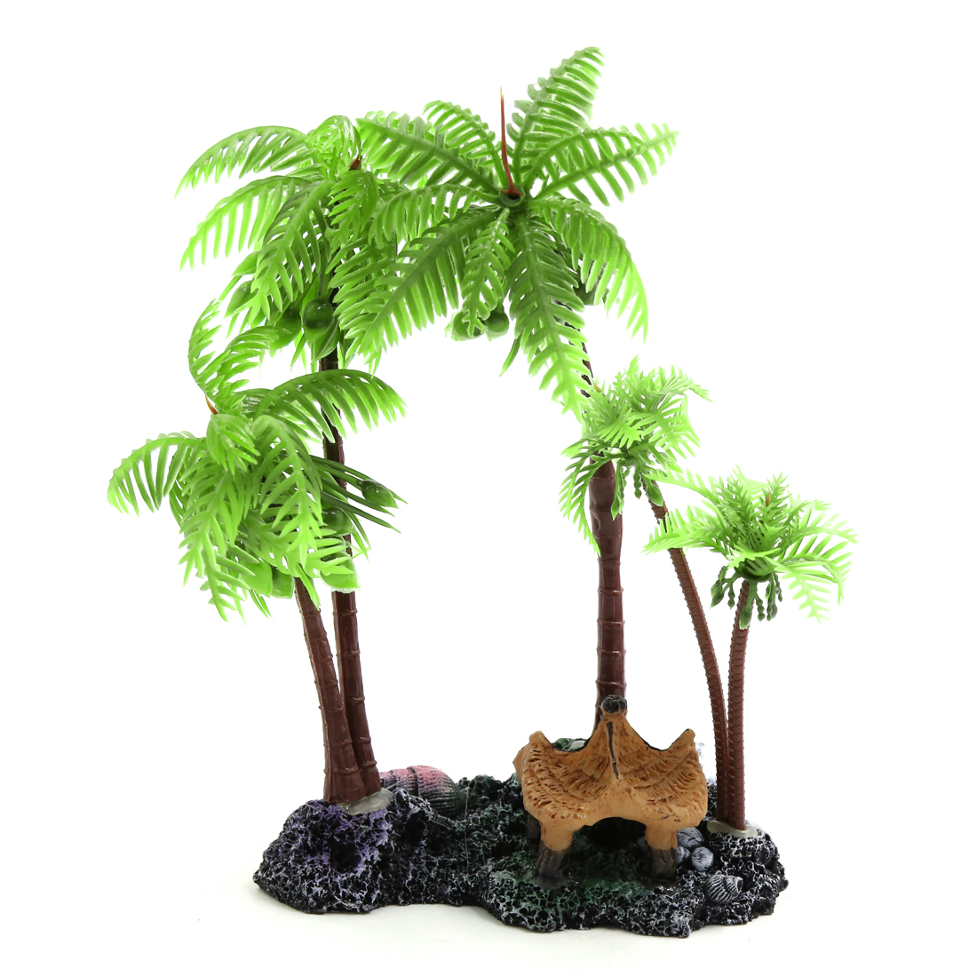 Green Plastic Coconut Tree Plant Decor Decor for Reptiles Amphibians