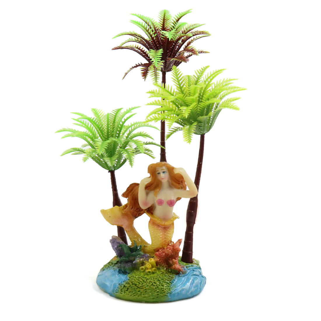 Plastic Coconut Tree Plant Aquarium Tank Aquascape Decorative Ornaments w/ Stand