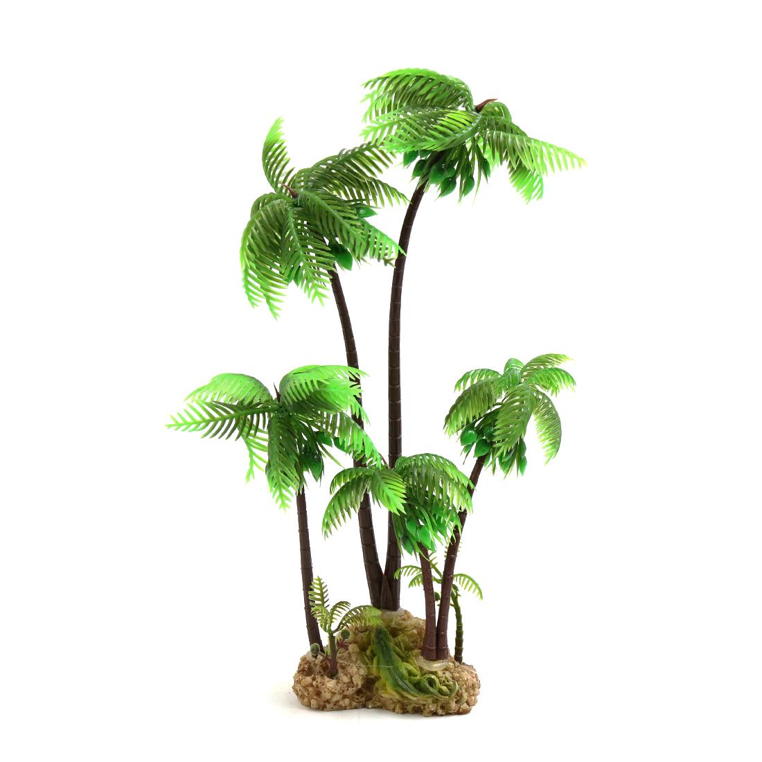 Green Plastic Coconut Tree Aquarium Terrarium Reptile Tank Landscape Plant Decor