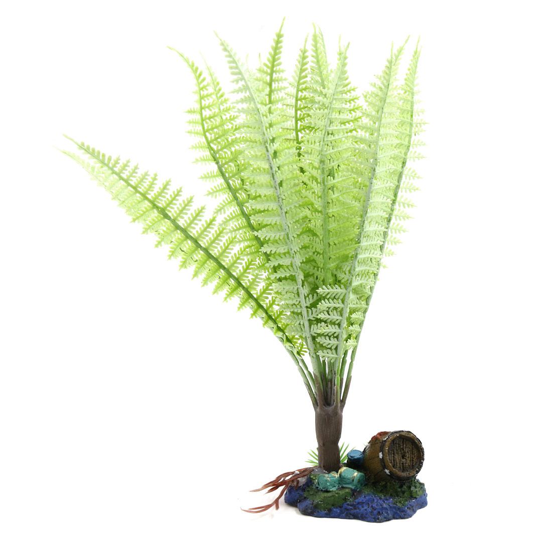 Light Green Plastic Plant Reptiles Tank Terrarium Landscape Decoration Ornament