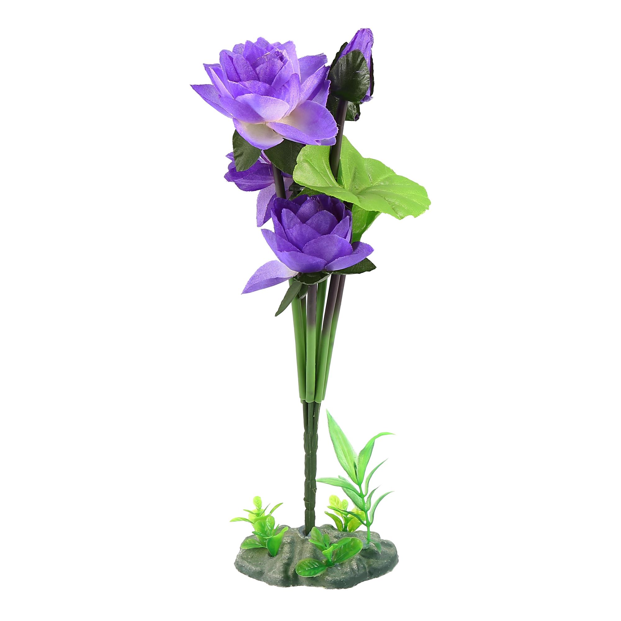 Plastic Flower Plant Aquarium Fishbowl Landscape Decorative Ornament Purple