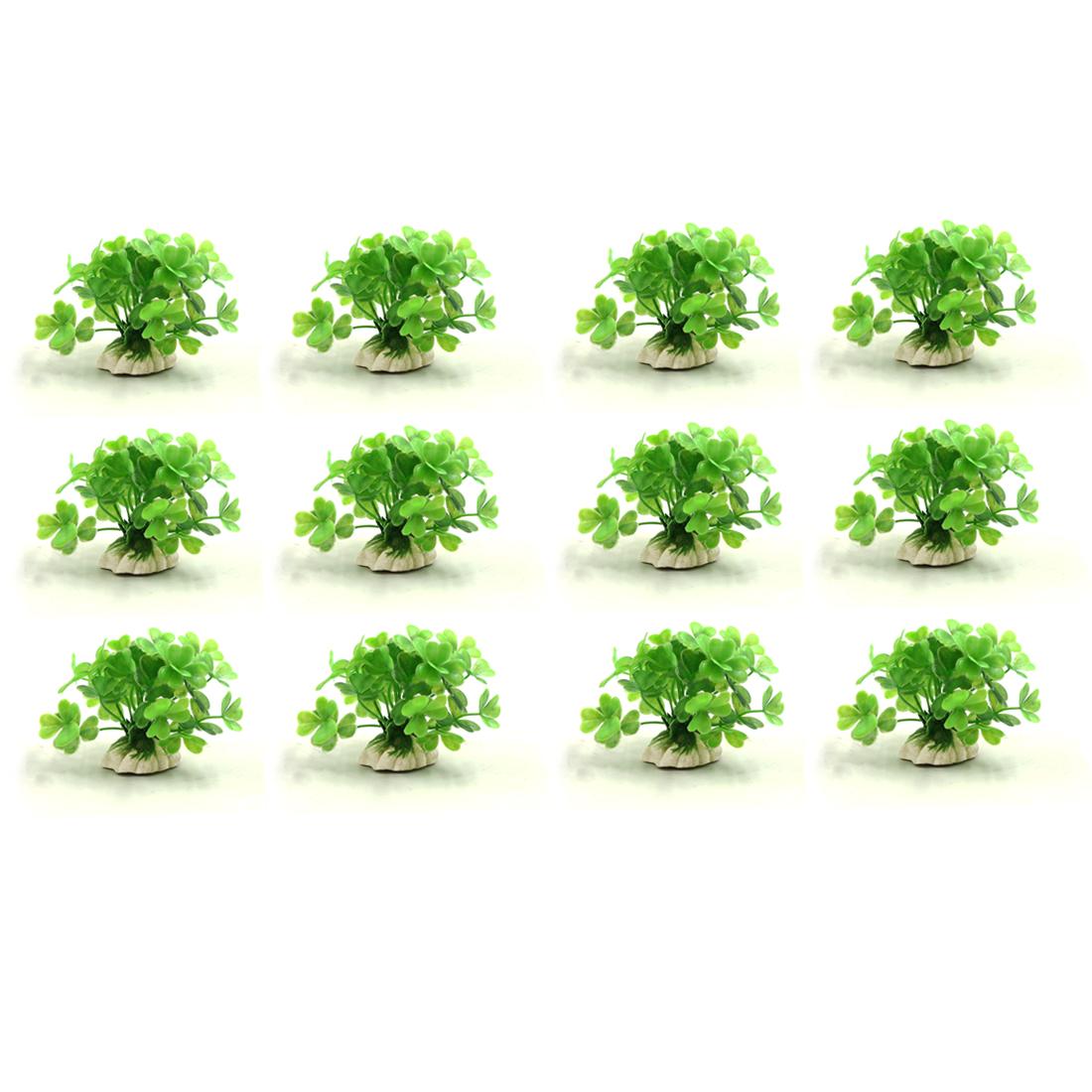 12pcs Green Plastic Mini Plant Aquarium Fishbowl Waterscape Decoration Ornament