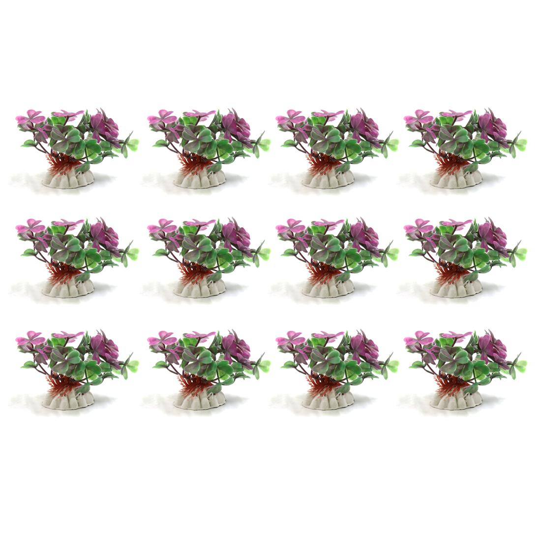 12pcs Green Plastic Mini Plant Aquarium Decor Waterscape Ornament
