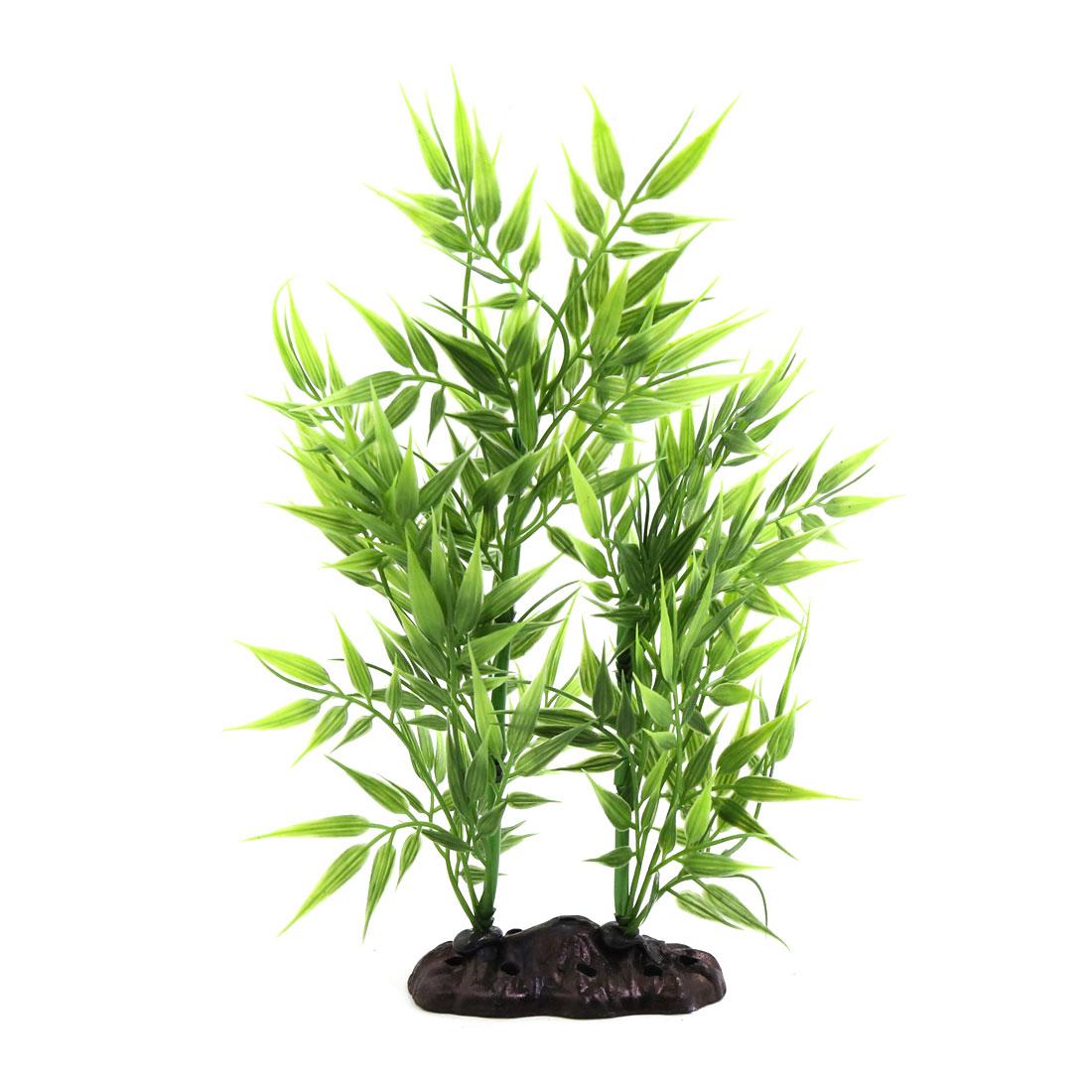 Plastic Bamboo Leaves Plant Betta Tank Aquarium Decors w/ Ceramic Base