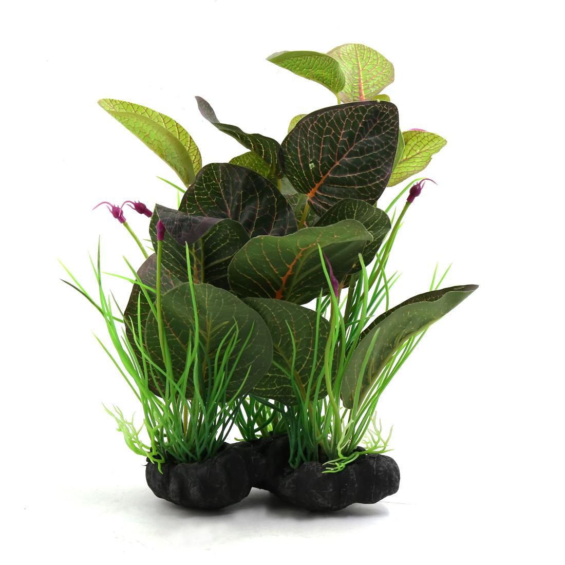Green Plastic Terrarium Leaves Plant Ornament for Reptiles and Amphibians