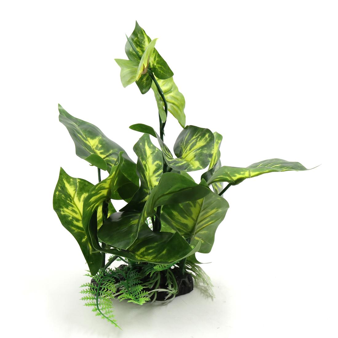 Green Plastic Terrarium Tank Lifelike Plant Decorative Ornament for Reptiles