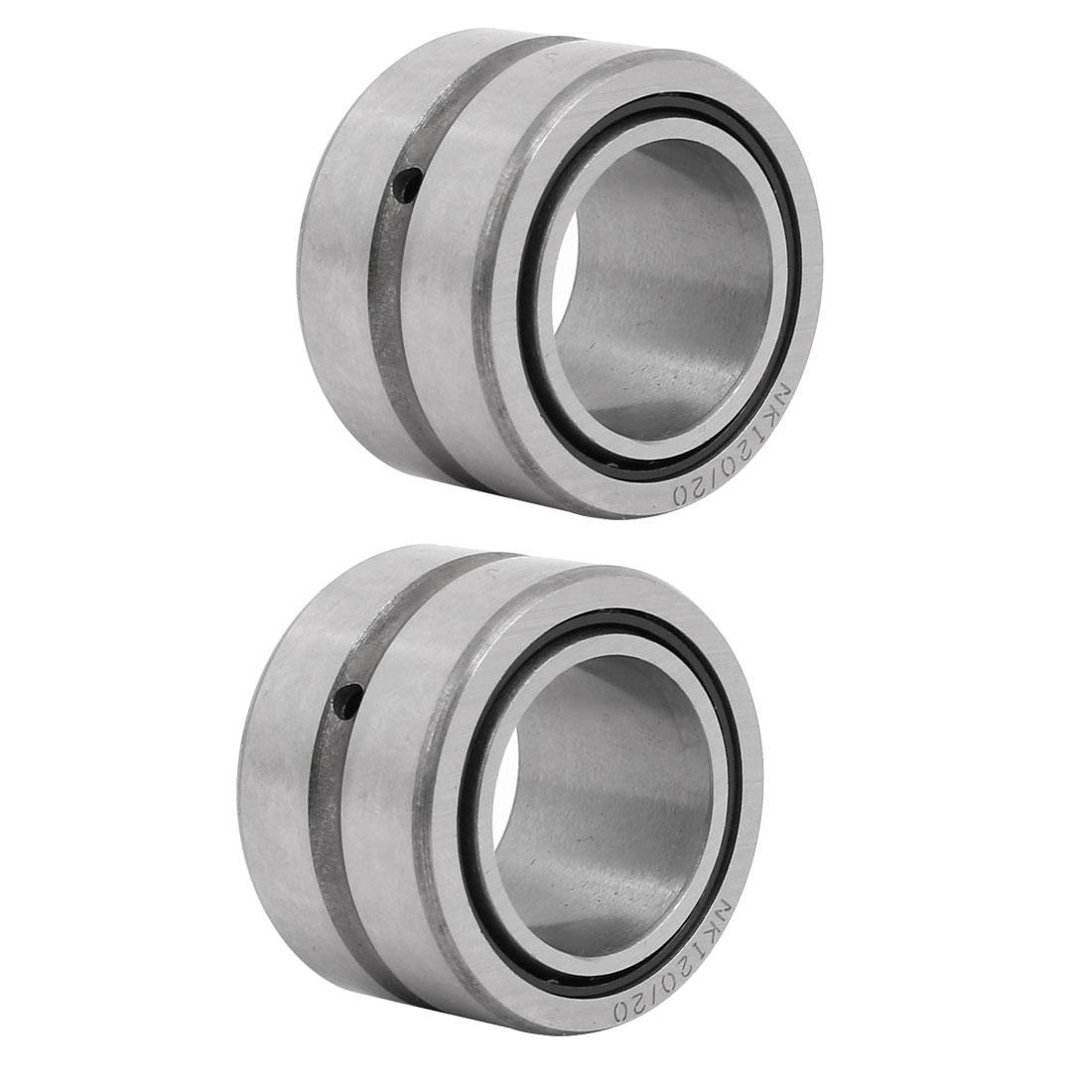 NKI20/20 20mmx32mmx20mm Inner Ring Needle Roller Bearing Silver Tone 2pcs