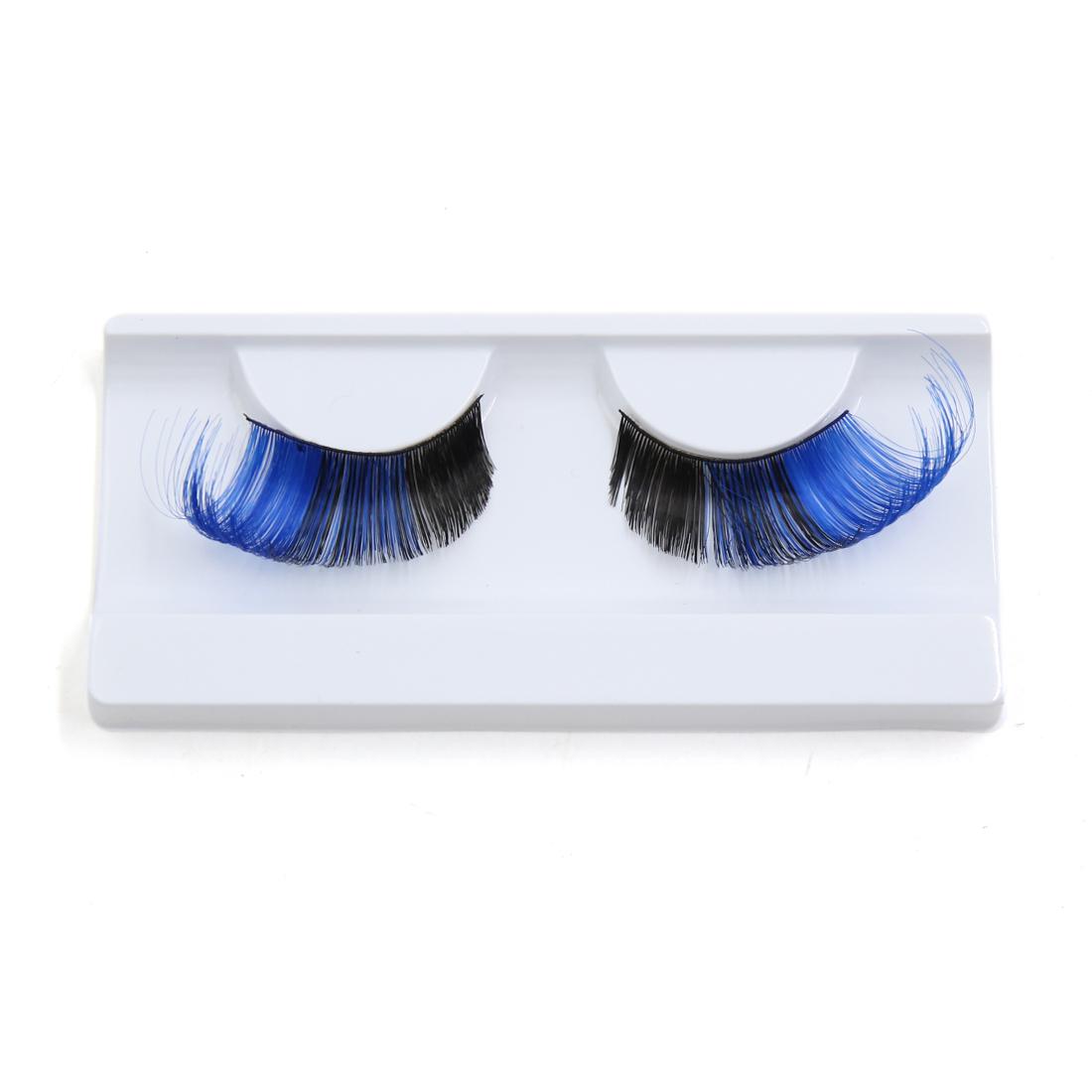 1 Pair Blue Black False Eyelashes Extension Eye Decor for Women Party Makeup