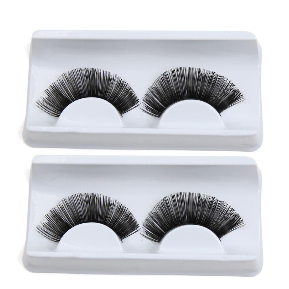 2 Pairs Black Decor False Eyelashes Eyes Styling Makeup Cosmetic for Party Club
