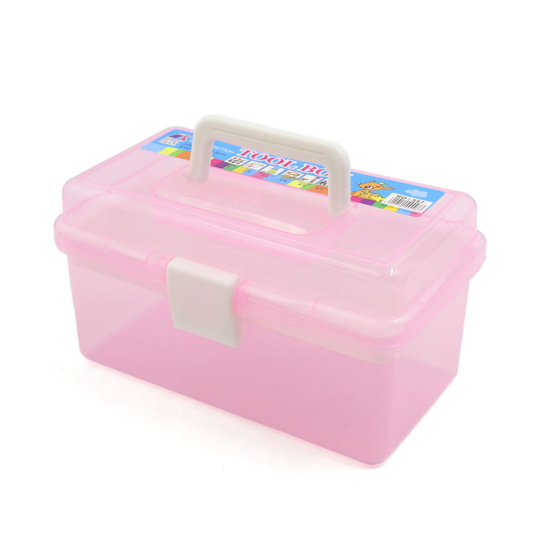 Pink Multifunction Empty Nail Art Makeup Cosmetic Tool Container Storage Box