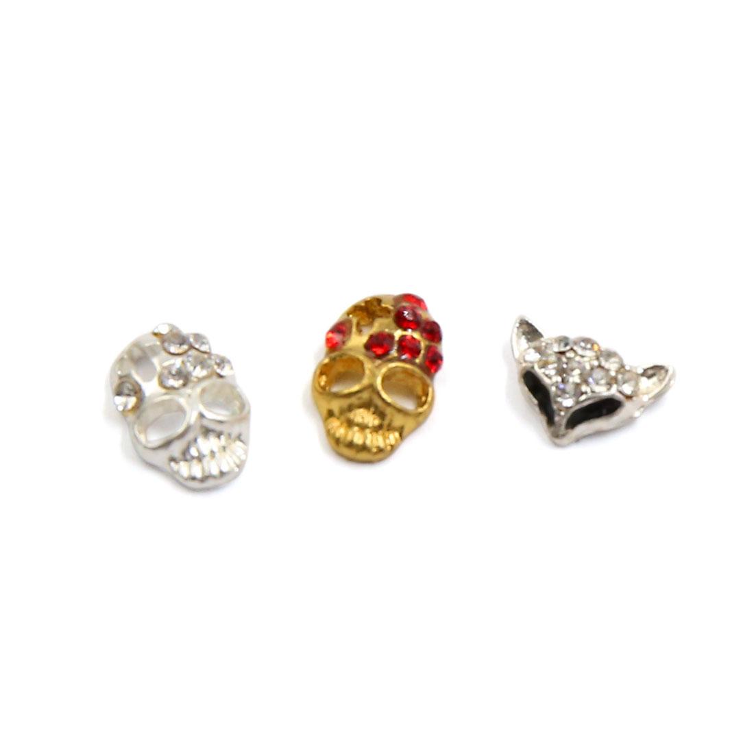 3pcs Skeleton Head Shape Glitter Nail Art Salon Charm Decoration Tip Jewelry