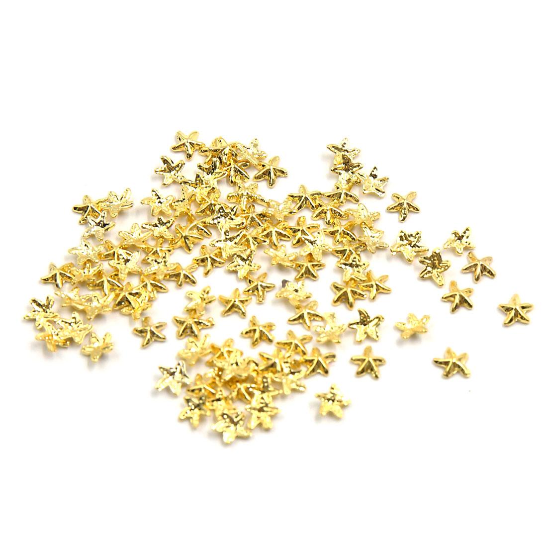 100pcs Gold Tone Starfish Shape DIY 3D Nails Art Slices Tips Decoration Ornament