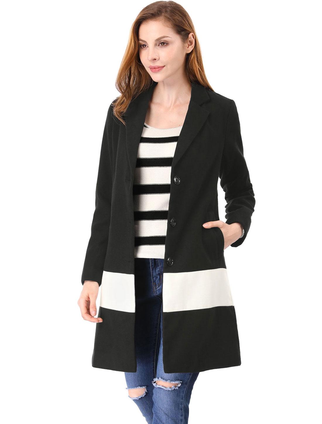 Allegra K Women Contrast Color Notched Lapel Coat Black M