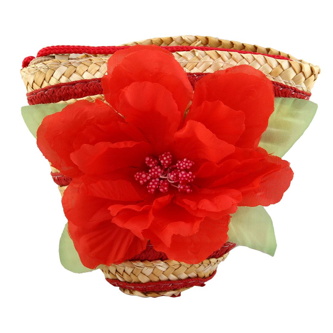 Women Straw Woven Bag Basket Crossbody Pouch Pack Shoulder Pocket Purse Red