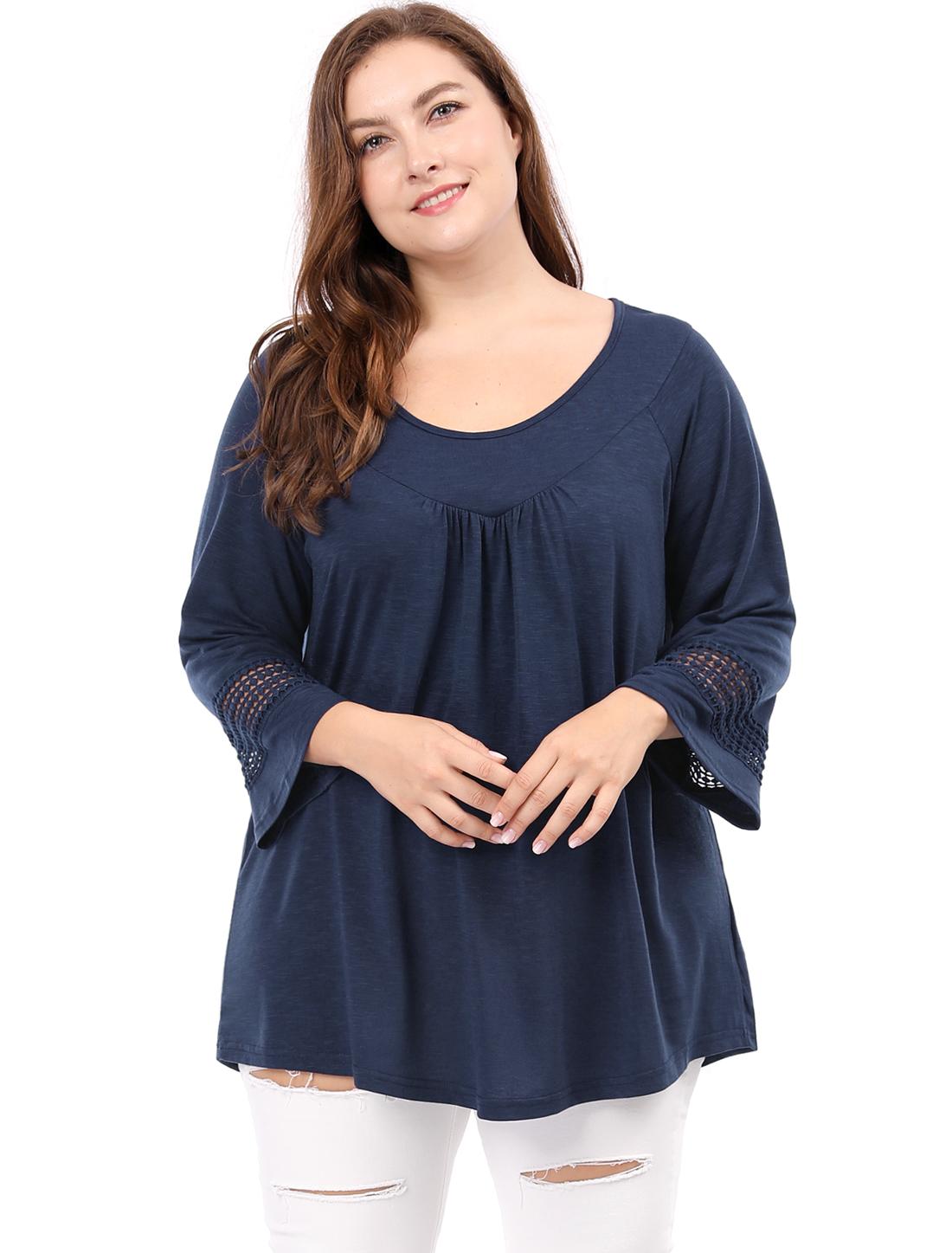 Women Plus Size Crochet Panel Kimono Raglan Sleeves Ruched Front Top Blue 2X