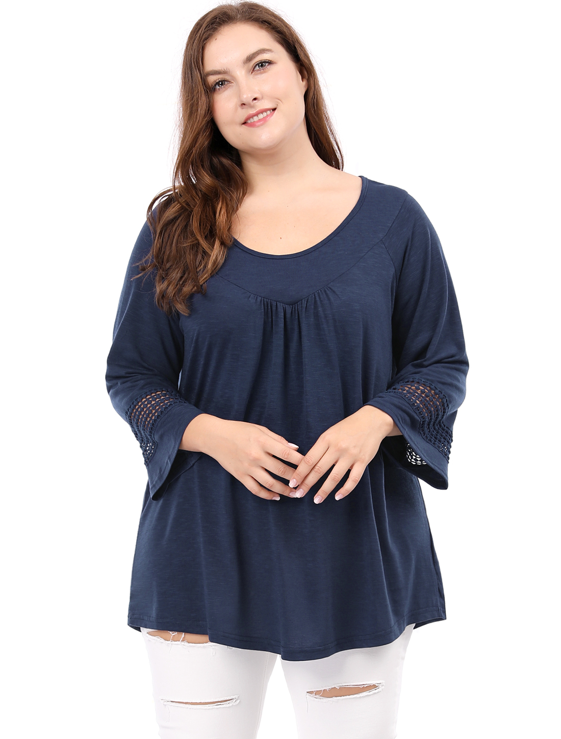 Women Plus Size Crochet Panel Kimono Raglan Sleeves Ruched Front Top Blue 3X